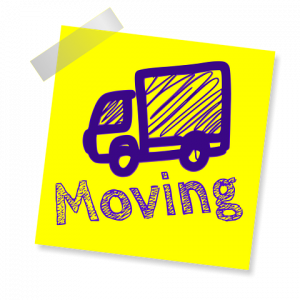 Moving signage with a sketch of a truck